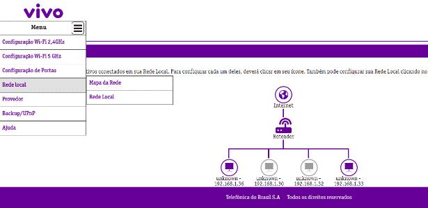 Mapa de rede do Vivo Fibra - Reprodução