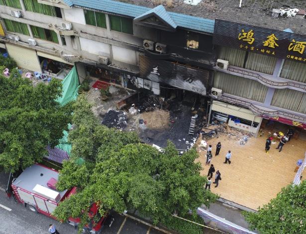 Karaokê no município de Qingyuan, no sul da China, onde incêndio deixou 18 mortos - Deng Hua/Xinhua