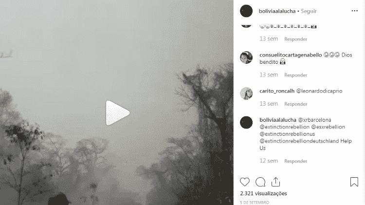 11.dez.2019 - Vídeo do avião foi publicado na página boliviaalalucha em setembro - Reprodução/Instagram