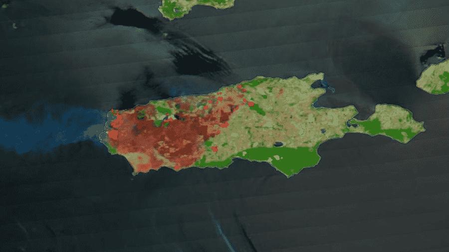 07.jan.2020 - Imagem feita pela NASA via satélite mostra área da Ilha Kangaroo devastação pelo fogo (área marrom) e com focos de incêndio ativos (em vermelho), na Austrália - NASA