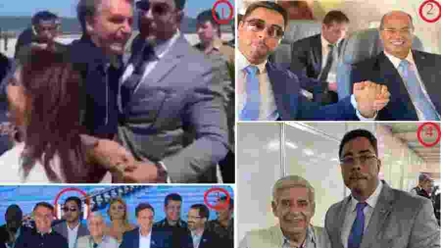 Bretas recebe o presidente Jair Bolsonaro no aeroporto Santos Dumont neste 15 fevereiro  (1); em janeiro do ano passado, em avião da FAB em companhia de Wilson Witzel (2), que caiu em desgraça junto ao bolsonarismo. O juiz federal em inauguração de obra, como se isso fosse a coisa mais natural do mundo (3), e em companhia do ministro do GSI (4), General Heleno  - reproduções
