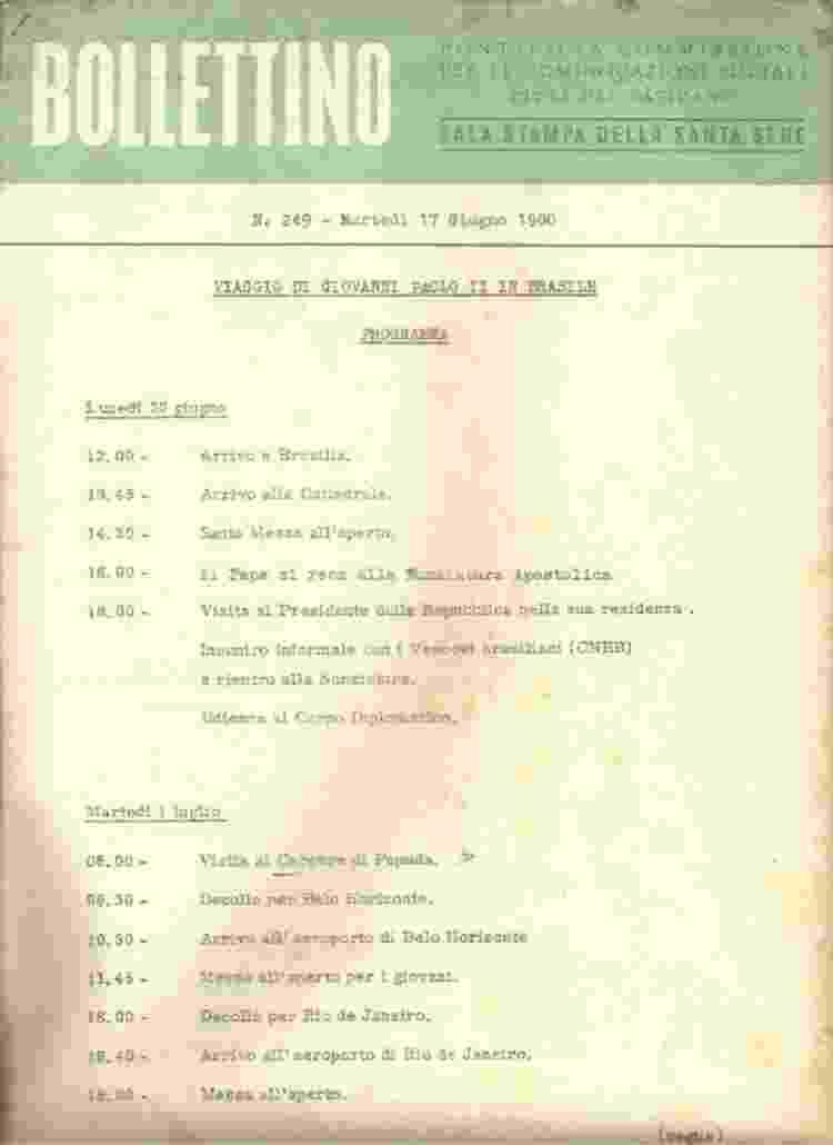 De chegada a Brasília a missa no Aterro do Flamengo: em italiano, o roteiro de dois dias da viagem do papa - Reprodução - Reprodução