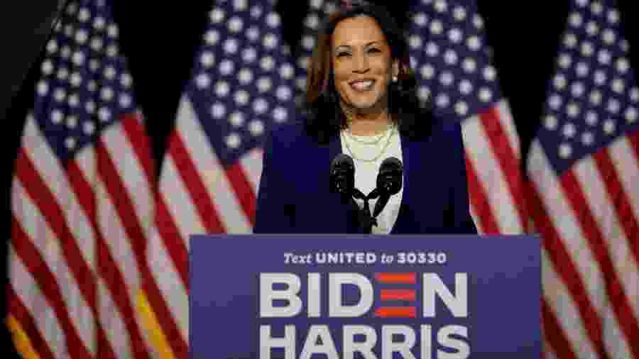 Kamala Harris discursou após ser nomeada vice na chapa de Joe Biden - REUTERS/Carlos Barria
