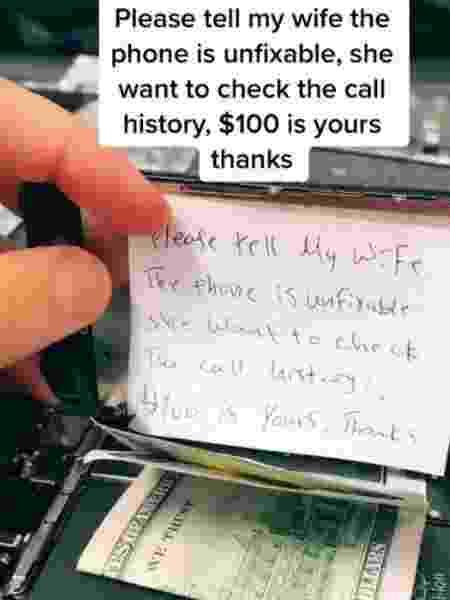 Homem paga 100 dólares para técnico não arrumar iPhone por medo da esposa - Reprodução/TikTok