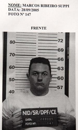 Reprodução da foto de Marcos Ribeiro Suppi, um dos cinco homens presos em 2005 pela Polícia Federal com uma parte do dinheiro roubado do Banco Central, na unidade de Fortaleza (CE). O assalto aconteceu em agosto daquele ano, por meio de um túnel, por onde a quadrilha levou mais de R$ 160 milhões