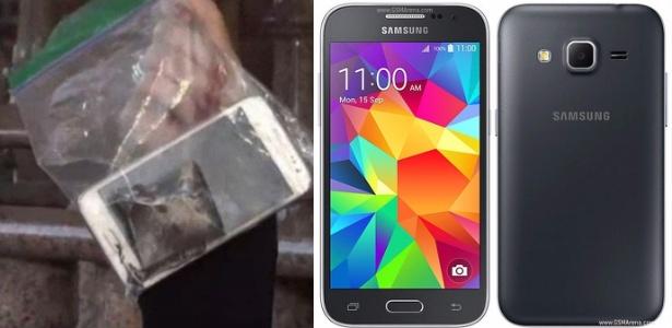 Repórter da NBC segura Galaxy Core, que explodiu em mão de menino; à direita, foto de divulgação do modelo
