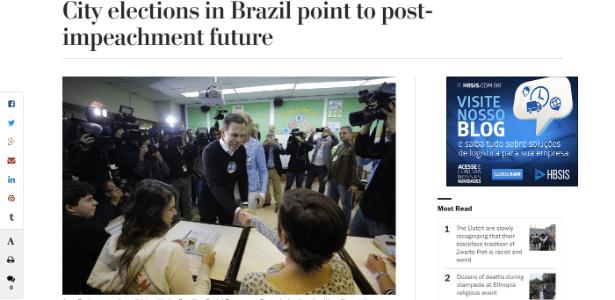 Reprodução do site do Washington Post sobre eleições no Brasil