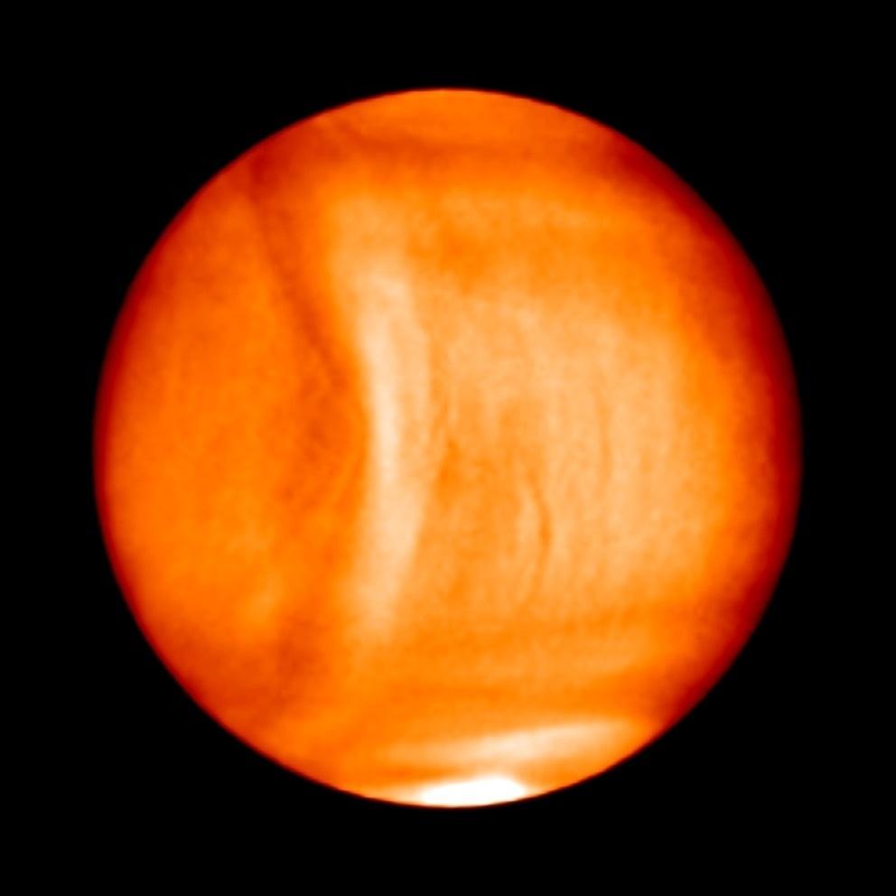 16.jan.2017 - Uma enorme estrutura estacionária foi detectada na atmosfera de Vênus pela nave espacial Akatsuki, da JAXA (Agência Japonesa de Exploração Aeroespacial), de acordo com estudo publicado recentemente na Nauture Geoscience