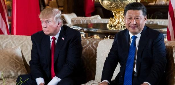 6.abr.2017 - Trump durante encontro com o presidente da China, Xi Jinping, na Flórida - Doug Mills/The New York Times