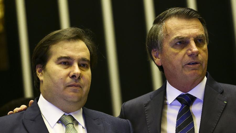 29.mai.2019 - O presidente Jair Bolsonaro e o presidente da Câmara, Rodrigo Maia - Marcelo Camargo/Agência Brasil