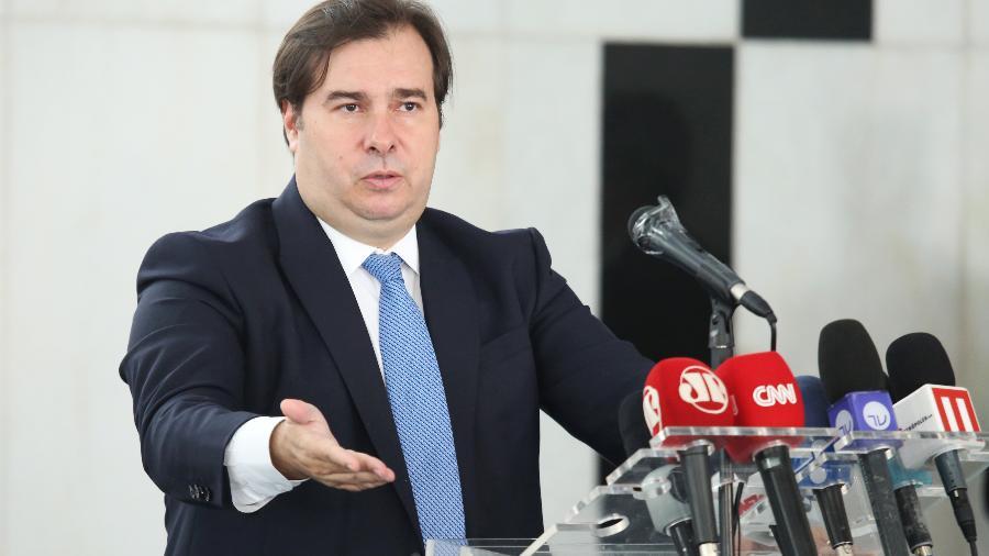 31.mar.2020 - O presidente da Câmara dos Deputados, Rodrigo Maia (DEM-RJ), em coletiva sobre a crise do coronavírus - Cleia Viana/Câmara dos Deputados