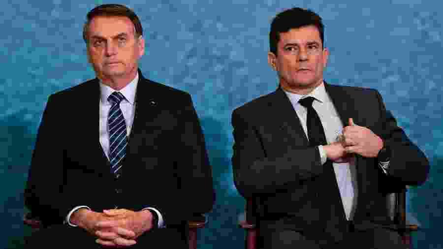 O presidente Jair Bolsonaro e o ex-ministro Sergio Moro - Mateus Bonomi/AGIF