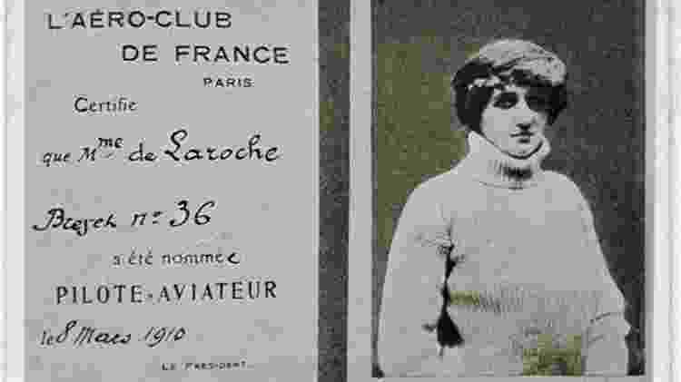 Licença de Raymonde de Laroche emitida pela Aeroclube da França - Reprodução - Reprodução