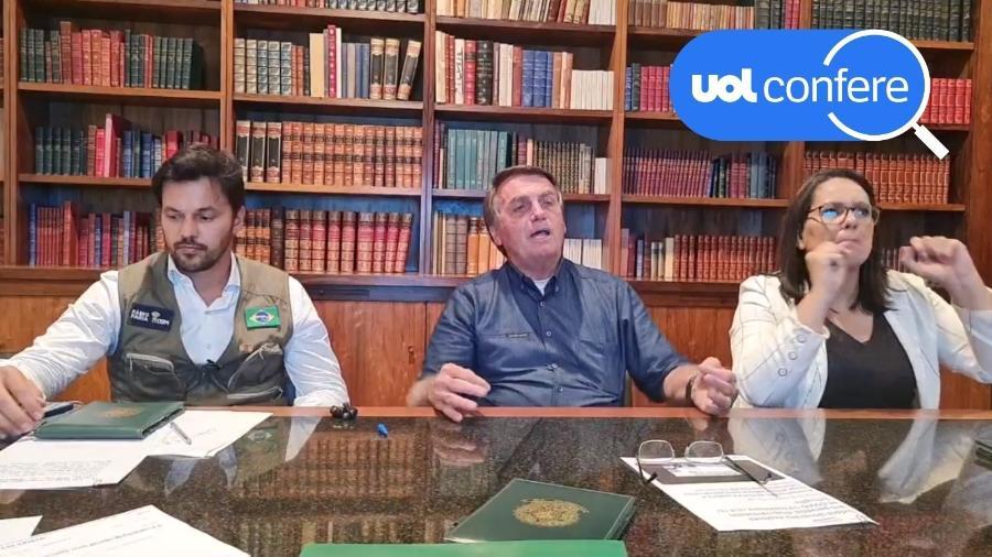 24.jun.2021 - O presidente Jair Bolsonaro faz live ao lado do ministro das Comunicações, Fábio Faria - Reprodução/YouTube Jair Bolsonaro