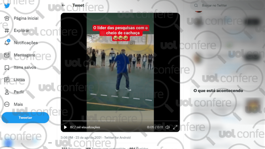 30.ago.2021 - Vídeo mostra prefeito de Tianguá (CE) em quadra poliesportiva, e não Lula - Reprodução/Twitter