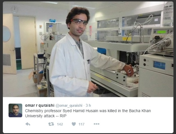 O professor Syed Hamid Husain, que enfrentou os terroristas durante o atentado