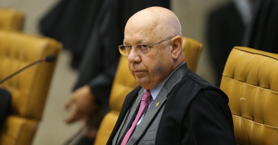 2.mar.2016 - O ministro Teori Zavascki durante a sessão do STF que aprecia a denúncia da Procuradoria Geral da República contra o presidente da Câmara dos Deputados, Eduardo Cunha (PMDB-RJ)