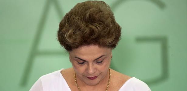 A presidente afastada, Dilma Rousseff, durante cerimônia no Palácio do Planalto, em abril