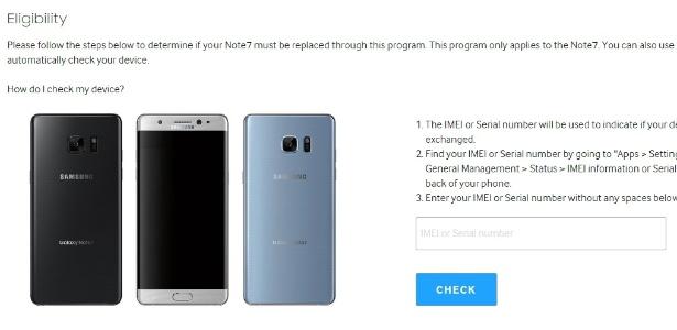 Página do recall de segurança do Galaxy Note 7, onde é possível saber se o celular está com problema que o leva a explodir