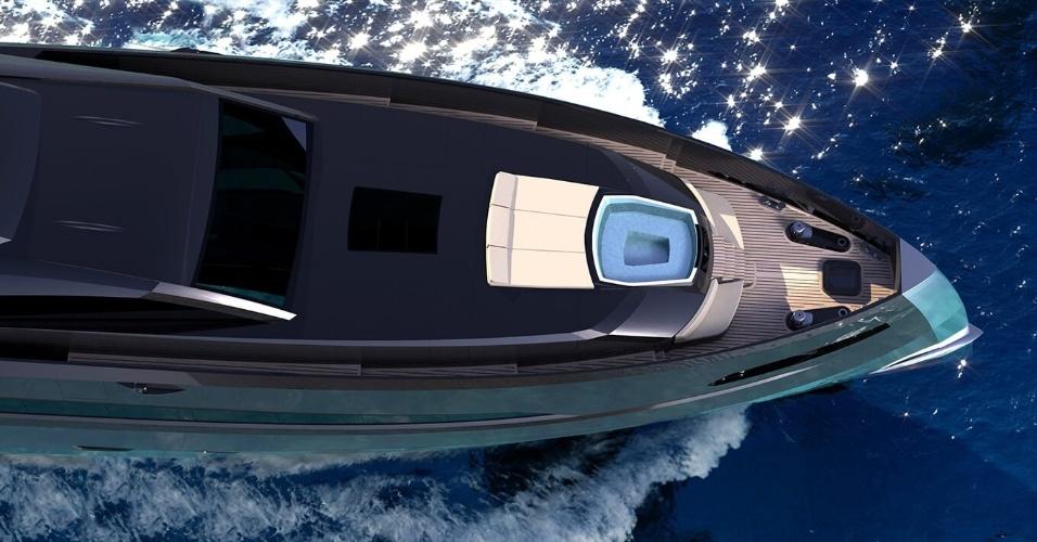 O iate The Gotham Project, da empresa holandesa Icon Yachts, tem um local na frente para tomar sol, incluindo uma piscina