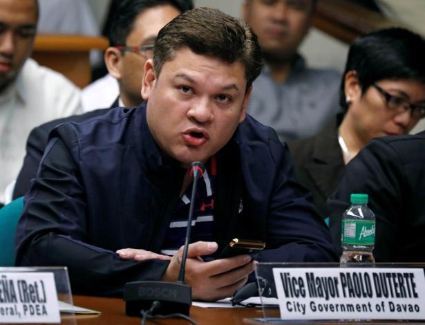 Paolo Duterte, filho do presidente filipino Rodrigo Duterte, durante depoimento no Senado