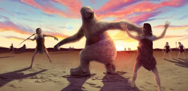 Ilustração refaz caça de preguiças gigantes pelos homens - Alex McClelland/Bournemouth University
