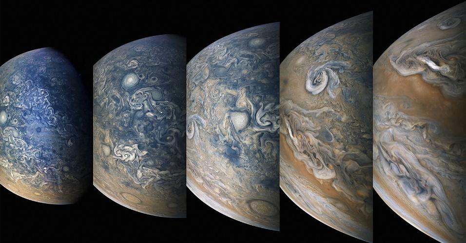 TEMPESTADES EM JÚPITER - Imagens divulgadas pela Nasa (agência espacial americana) mostram a ocorrência de fenômenos atmosféricos em Júpiter. A partir da esquerda, é possível avistar a formação do anticiclone batizado de N5-AWO. A mesma formação encontra-se ao centro das imagens seguintes. Além disso, na parte central da segunda e terceira fotos, pode ser vista uma tempestade conhecida como Pequena Mancha Vermelha. Por sua vez, a faixa alaranjada no topo da quarta e quinta imagens representa uma estrutura chamada de Cinturão Temperado Setentrional. Essas são as regiões de Júpiter mais afetadas por tempestades. As fotos foram tiradas pela espaçonave Juno em seu 14º sobrevoo do planeta