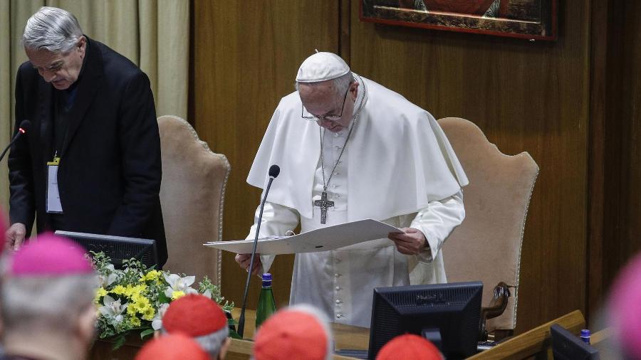 22.fev.2019 - Papa Francisco participa do segundo dia de uma cúpula global de proteção à criança para reflexões sobre a crise dos abusos sexuais dentro da Igreja Católica - GIUSEPPE LAMI / POOL / AFP