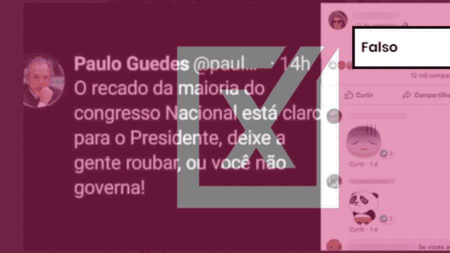 19.set.2019 - Tuíte falso atribuído a Paulo Guedes teve milhares de compartilhamentos no Facebook - Reprodução/Comprova
