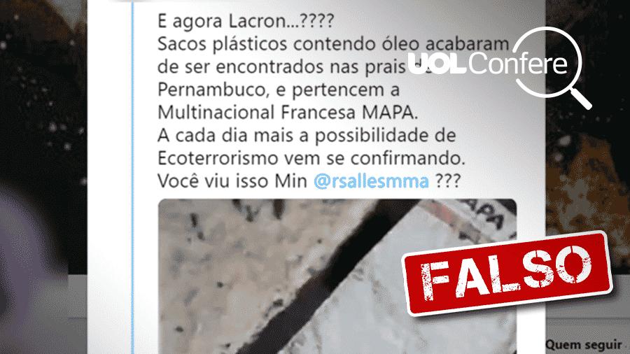 25.out.2019 - Post mostra embalagens para luvas que foram reaproveitadas para armazenar óleo que vazou no litoral do Nordeste - Arte/UOL