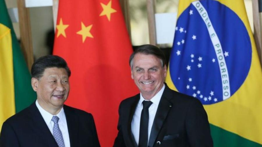 O presidente da China, Xi Jinping, e o presidente Jair Bolsonaro durante declaração à imprensa, em Brasília - Valter Campanato/Agência Brasil