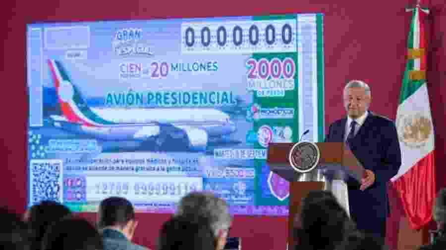 O presidente mexicano, López Obrador, em evento sobre a rifa do avião presidencial - Divulgação/Presidencia de la República del Gobierno de México