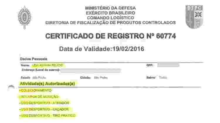 Certificado de CAC de Levi Adriani Felício - Reprodução/PF - Reprodução/PF