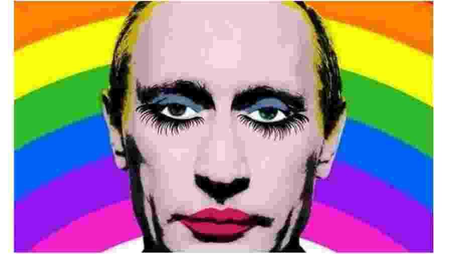 """O homofóbico Vladimir Putin caracterizado como drag queen. Essa imagem, creiam, é proibida na Rússia. Quem a divulga pode ser acusado de """"extremismo político"""" - Reprodução"""