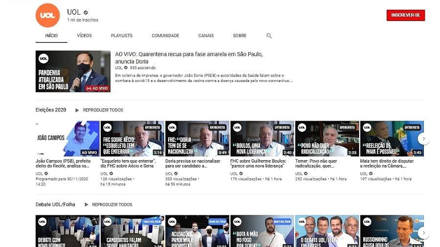 Reprodução da capa do canal do UOL no YouTube - Reprodução