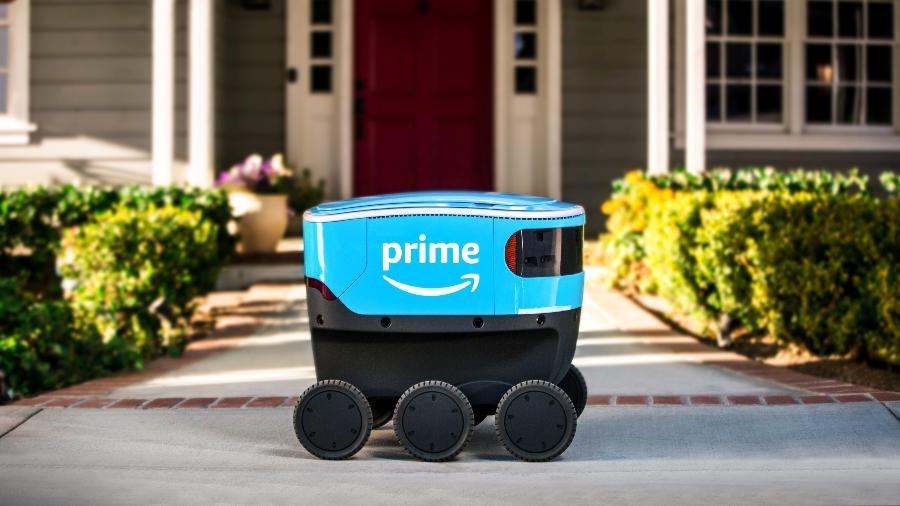 Scout é o robô entregador da Amazon; empresa realiza testes em diversas cidades dos EUA - Divulgação