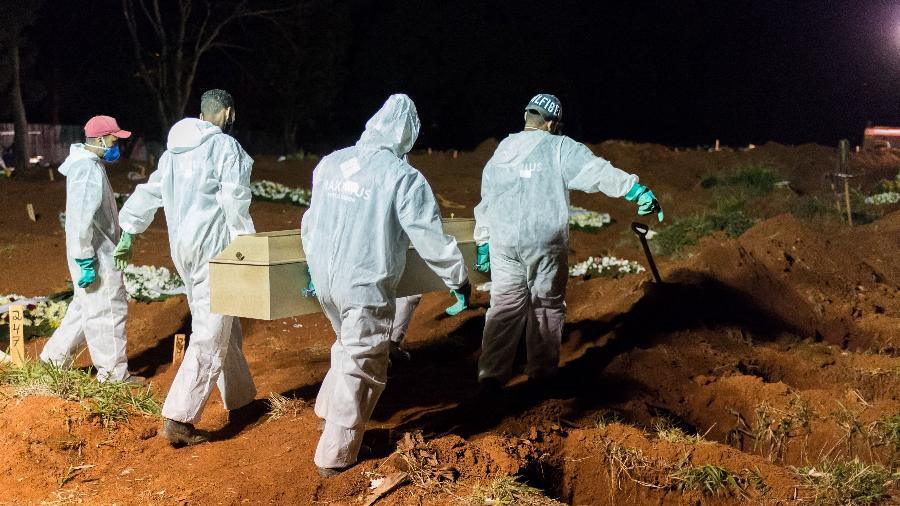 Devido ao alto número de vítimas de covid-19, o cemitério de Vila Formosa, em São Paulo, ampliou a quantidade de enterros noturnos - Vincent Bosson / Estadão Conteúdo