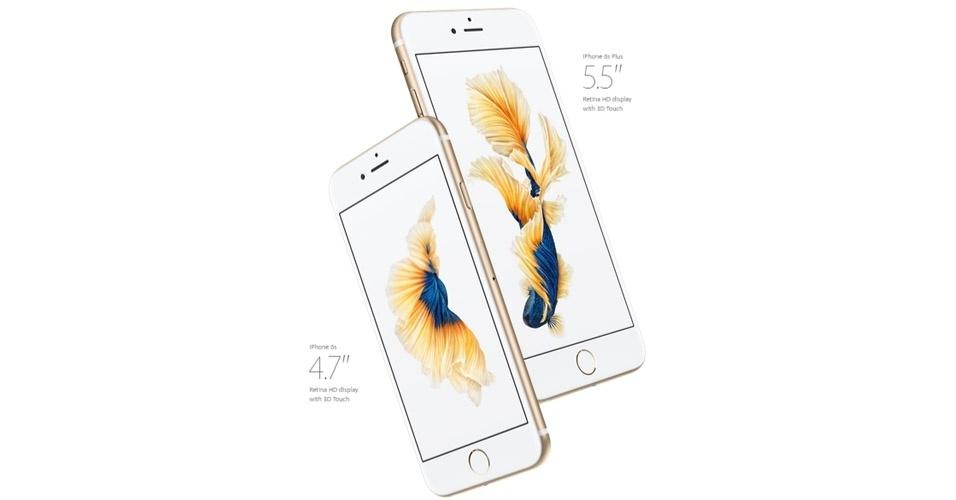 9.set.2015 - Em seu evento anual, realizado em San Francisco (EUA), a Apple lançou os iPhones 6S e 6S Plus. Os novos aparelhos têm telas de 4,7 polegadas e 5,5 polegadas, respectivamente --o mesmo tamanho em relação aos modelos de 2014. Além da capacidade de gravar vídeos em 4K, as câmeras ganharam um upgrade: 12 MP (traseira) e 5 MP (frontal)