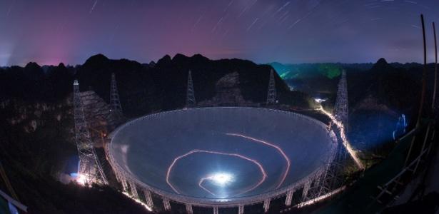 O maior radiotelescópio do mundo, que tem uma abertura esférica de 500 metros, mede o equivalente a 30 campos de futebol e está encravado em uma montanha na pobre província de Guizhou, ao sudeste da China