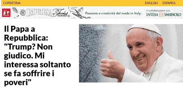 Papa Francisco La Repubblica - Reprodução - Reprodução