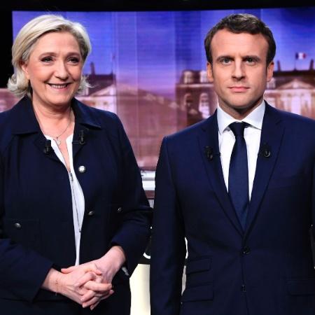 Marine Le Pen e Emmanuel Macron em foto da última eleição presidencial na França - 3.mai.2017 - Eric Feferberg/ AFP