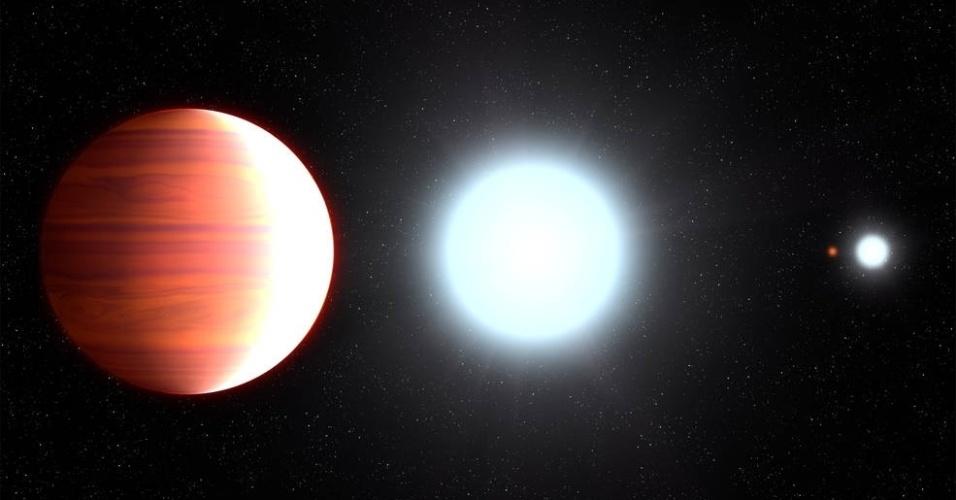 NEVE DE PROTETOR SOLAR - Astrônomos norte-americanos descobriram um exoplaneta gigantesco --seis vezes a massa de Júpiter (o maior planeta do Sistema Solar)-- e bastante quente --com temperaturas de até 2.760ºC (o mais quente do Universo). Mas o que mais chama atenção nesse misterioso mundo é que por lá neva dióxido de titânio, um dos ingredientes ativos no protetor solar.