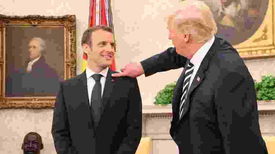 Emmanuel Macron e Donald Trump em encontro na Casa Branca - Ludovic Marin/AFP Photo