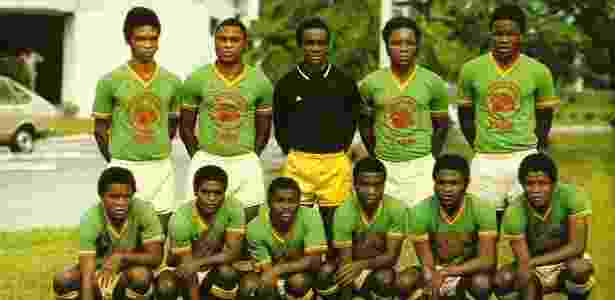 Seleção de futebol do Zaire durante a década de 1970; equipe jogou a Copa de 1974, na Alemanha - Reprodução/IBWM.com - Reprodução/IBWM.com