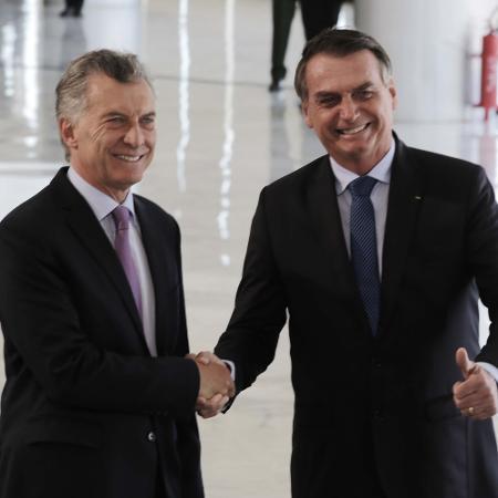 16.jan.2019 - O presidente Jair Bolsonaro recebe o presidente da Argentina, Mauricio Macri - Fátima Meira/Estadão Conteúdo