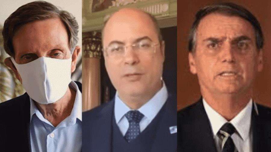 Prefeito Marcelo Crivella, governador Wilson Witzel e presidente Jair Bolsonaro - Reprodução de vídeo