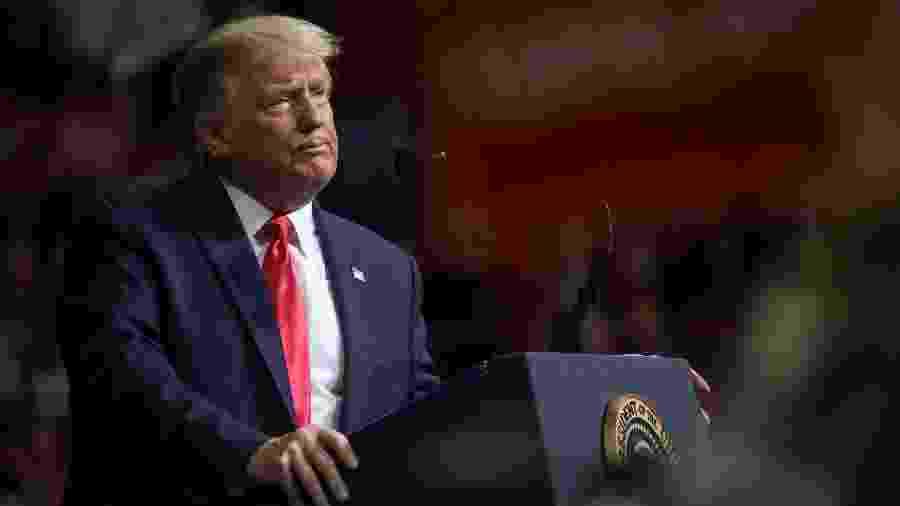 O presidente dos Estados Unidos, Donald Trump, fala em comício de campanha em Tulsa, Oklahoma - Leah Millis/Reuters