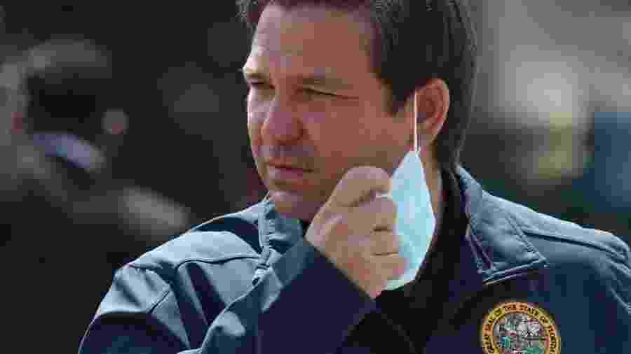 Governador da Flórida, Ron DeSantis, contatou o Departamento de Justiça ao perceber que endereço estava errado - Joe Raedle/Getty Images