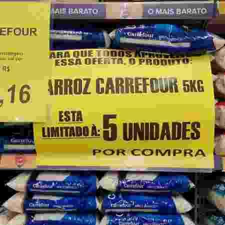 Loja do Carrefour entre Campinas e Valinhos limita pacotes de arroz em promoção por cliente - Felipe Pereira/UOL - Felipe Pereira/UOL