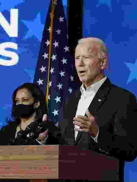 Joe Biden e Kamala Harris; Presidente prometeu medidas abrangentes para tornar a economia dos EUA neutra em carbono até 2050 - Drew Angerer/Getty Images/AFP